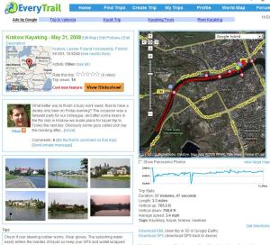 screenshot of everytrail.com